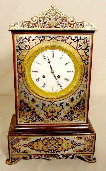 French Boulle Style Inlaid Clock