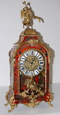 French Boulle Shelf Clock W/ Winged Trumpeter